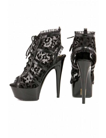 4 Low boots en simili-cuir et toile transparente, motif floqué léopard