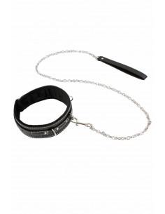 1 Collier 3 anneaux et strass et laisse en similicuir et chaîne