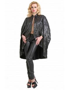 1 Manteau-cape ample. motif Toile de Jouy en relief. Fermeture sangle col devant