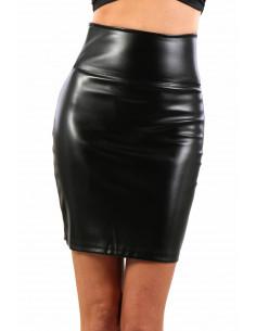 1 20389-BK Jupe taille haute aspect cuir