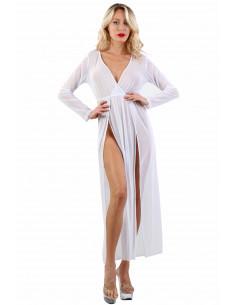 1 9603-WH Robe longue ouverte sur les cuisses