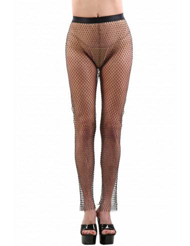 A013P-BK Net Pants set with rhinestones