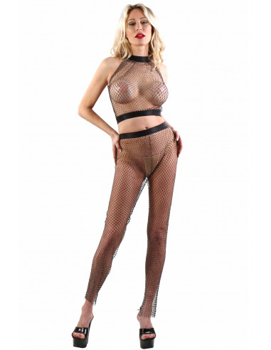 A013-A013P-BK Pants + Top in mesh and...