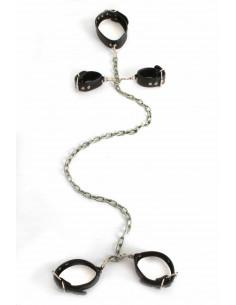 1 Ensemble bondage. Menottes cou-poignets-chevilles reliées par une chaîne.