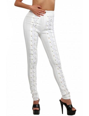 1 Pantalon slim taille haute à lacets. Finitions zip et oeillets dorés. La couleur est BLANC ECRUCe