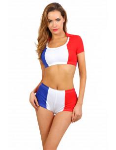 1 Ensemble composé d un short et d un top bleu/blanc/rouge de supporter de l équipe de France de