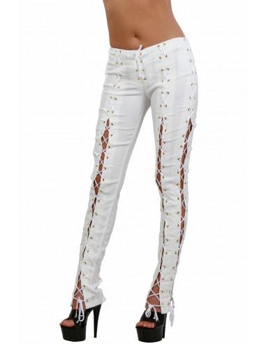 1 Pantalon slim taille haute ajouré sur les côtés