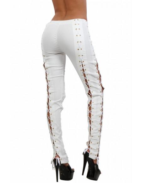 3 Pantalon slim taille haute ajouré sur les côtés