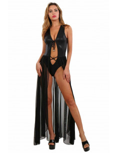 1 Robe longue en tulle et en tissu à effet pailleté avec body dissimulé
