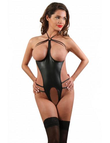 1 Body en Wetlook seins nus, ouvert et fendu à l entrejambe