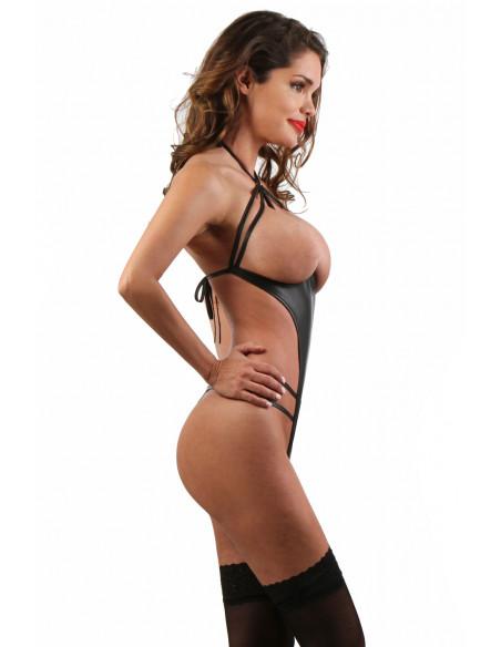 2 Body en Wetlook seins nus, ouvert et fendu à l entrejambe