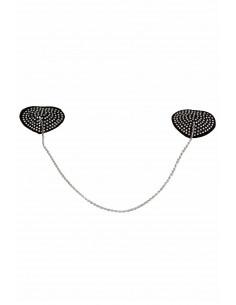 1 Décoration de mamelons en forme de coeur serti de strass
