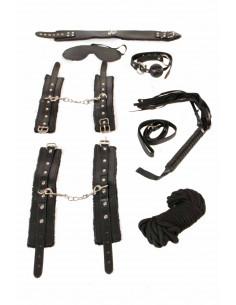 1 Ensemble bondage. Masque, bâillon, collier, laisse, menottes, menottes chevilles, martinet et corde.