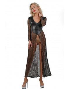 1 Robe longue à manches longues en Wetlook et résille large