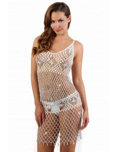 1 Ensemble top sans manches et jupe courte en crochet perlé de strass