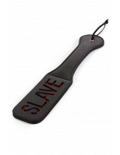 1 Paddle en simili-cuir noir et rouge, longueur 32cm, largeur 6cm, épaisseur 7mm. Dragonne en