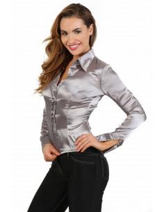 1 Chemise manche longue en satin. Dos nu finition laçage corset. Composition : Polyester 95%, Coton 5%