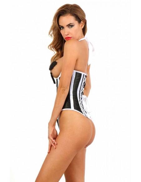 2 Corset seins-nus en satin. Zip devant, laçage col dos et laçage corset dos. String inclus. Compositi
