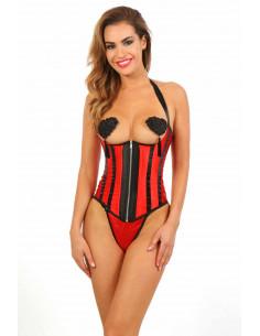1 Corset seins-nus en satin. Zip devant, laçage col dos et laçage corset dos. String inclus. Compositi