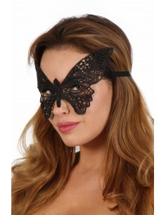 1 Masque papillon en crochet rigide. Laçage ruban satin. Taille unique