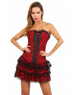 1 Corset robe. Ajustement laçage corset dos. Fermeture zip côte