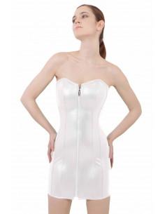 1 Robe bustier en simili-cuir. Fermeture zip devant. Ajustement laçage corset dos