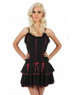 1 Robe corset à volants. Haut devant plissé finitions ruban de dentelle et couleur. Bretelle
