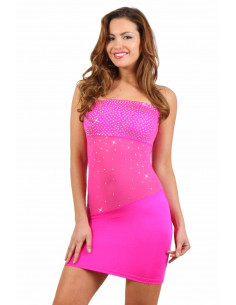 1 Robe corset Lycra stretch. Empiècements tulle, finitions strass.