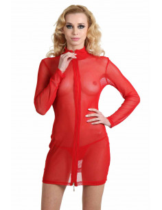 1 Robe sexy tulle stretch, Manches longues, Zip double sens devant.