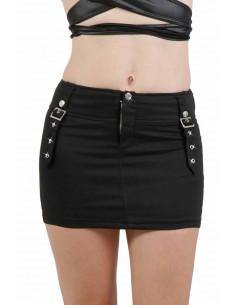 1 Mini jupe stretch. Fermeture zip et bouton pression devant. Finitions 2 boucles devant et derrière