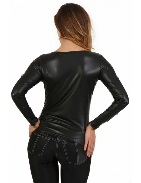 3 Top manche longue en wetlook effet latex. Col rond. Composition : Polyester 95%, Coton 5%