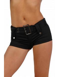 1 Minishort, fermeture zip devant, ceinture ajustable 4 passants. Finitions œillets et rivets.