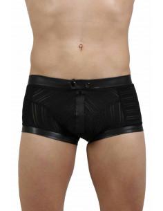 1 Boxer en tulle. Fermeture zip + boutons pression devant. Finition wetlook. Composition : Polyester