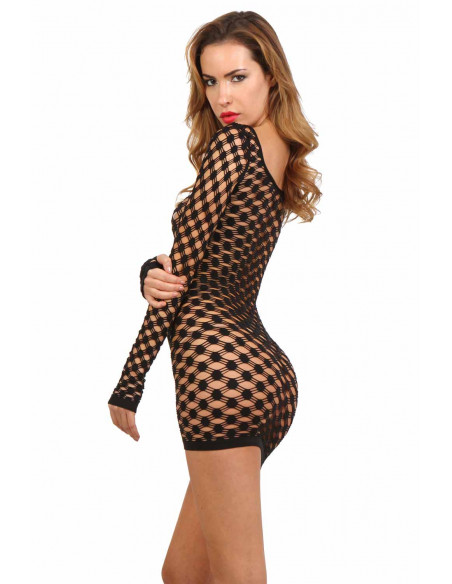 2 Robe fishnet manches longues avec col rond large