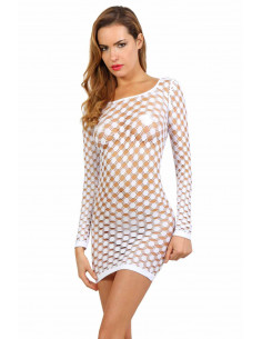 1 Robe fishnet manches longues avec col rond large