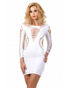 1 Robe blanche filet à manches courtes