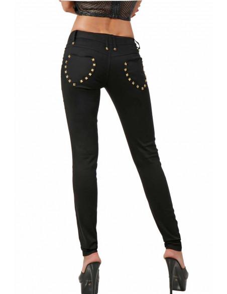 3 Pantalon stretch. Taille basse. Ceinture 6 passants. Fermeture zip devant. 2 poches fermeture zip de