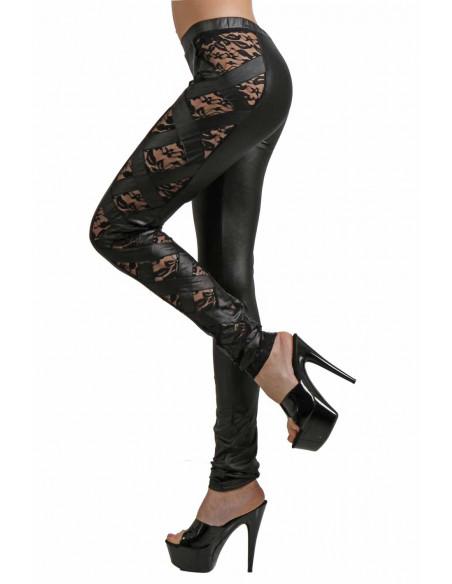 2 Pantalon slim taille basse. Ceinture élastique. Empiècements coté ajourés et dentelle