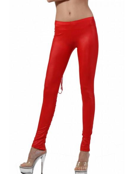 2 Pantalon slim taille basse. Ceinture élastique. Laçage derrière
