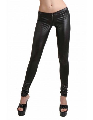 1 Pantalon slim taille basse. Ceinture élastique. Fermeture zip devant