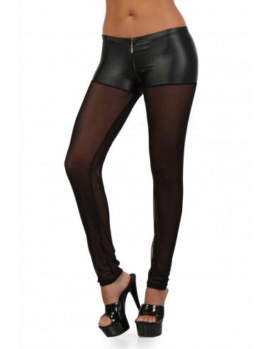 1 Pantalon slim taille basse en wetlook et tulle. Zip devant. Ceinture élastique. Composition :
