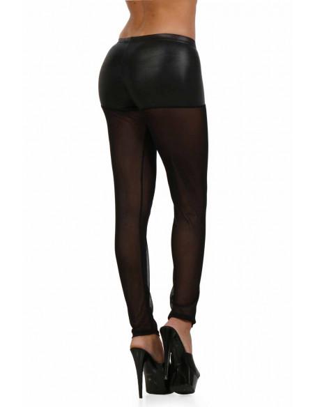 3 Pantalon slim taille basse en wetlook et tulle. Zip devant. Ceinture élastique. Composition :