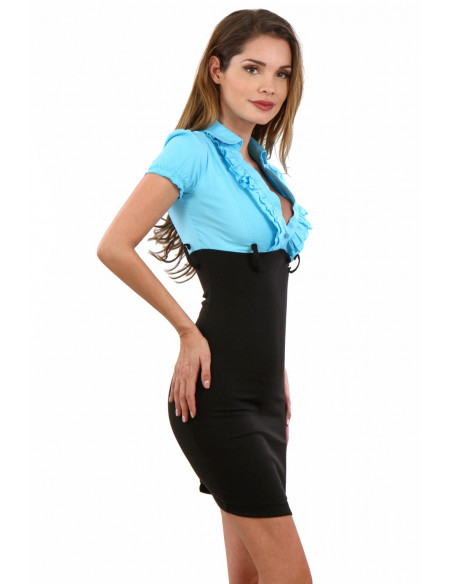2 Robe taille haute stretch. Composition : 95% Polyester, 5% Coton