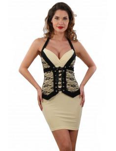 1 Robe stretch, laçage tour de cou. Finition dentelle, effet corset.