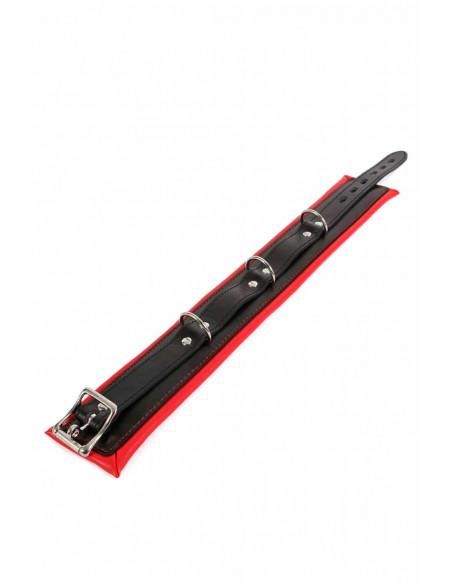 2 Collier cadenassable en similicuir noir et rouge. Molletonné, 3boucles d attache.