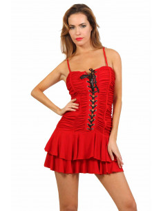 1 Robe bustier à volant. Fermeture laçage corset devant, finition plissé